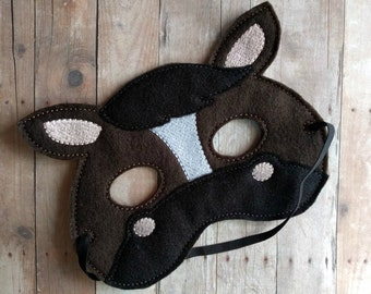 Horse Felt Mask, Elastic Back, Brown and Tan or Black Acrylic Felt with Embroidery, Made in USA, Cosplay, Costume, Halloween Mask