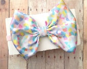 Big soft shiny satin mint peach white pink blue confetti  hair bow headband