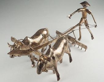 Asian farmer on ox bull plow antique silver figure miniature sculpture