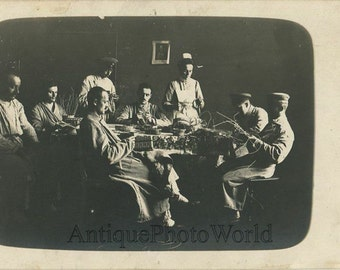 Wounded soldiers in hospital making baskets antique WWI rppc photo Germany
