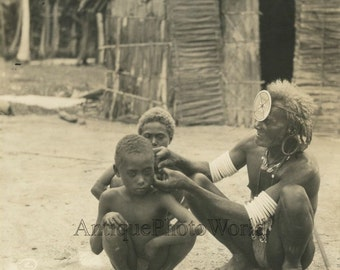 Shaman witch doctor healing children antique photo Africa