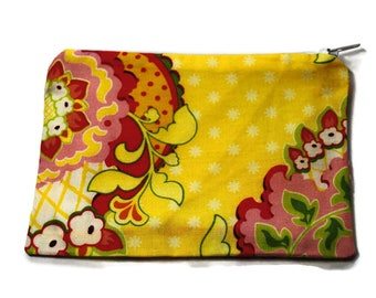Reusable Snack Bag Zipper Heather Bailey Yellow Pink Green Floral