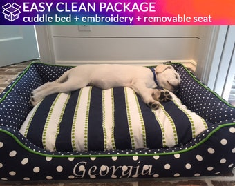 Bolster Dog Bed with Removable Seat - Washable & Easy to Clean!  | Design Your Own