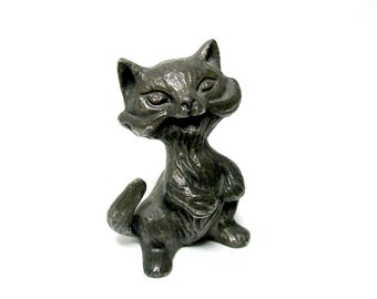 Cat Figurine, Pewter Cat Figurine, Small Heavy Pewter Cat, Gift for Cat Lovers