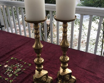 """Set of 2 brass church altar lion footed claws candle holders 16.5"""" tall"""