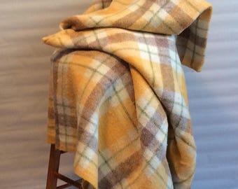 Vintage Plaid Butterscotch Blend Ayers 40% Wool 40 Acrylic 20 Nylon Blanket