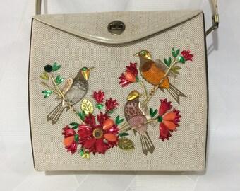 Vintage Retro 1960s Enid Collins Style Jeweled Floral Bird Box Purse Veneer Wood Sides Handbag
