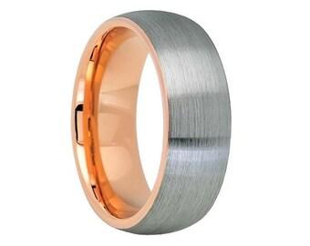 Gunmetal 18k Rose Gold Tungsten Wedding Band,Tungsten Wedding Ring,Anniversary Band,Brushed Tungsten Wedding Ring,Custom Tungsten Band