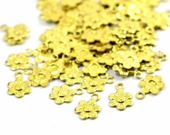 100 Pcs. Raw Brass 7 mm Flower Charms