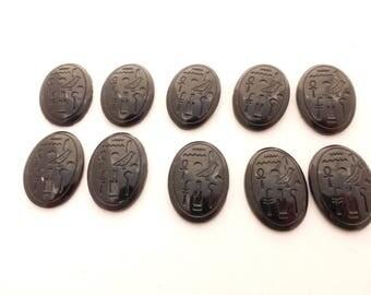 Egyptian Revival Black Glass Cabochons