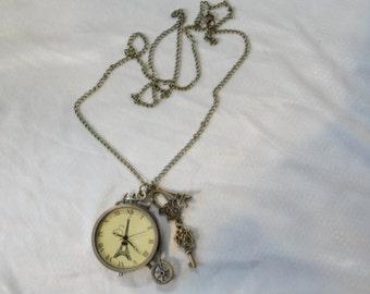 Steampunk Pocket  Pendant Watch Necklace Eiffel Tower