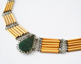 Handmade necklace with green stone