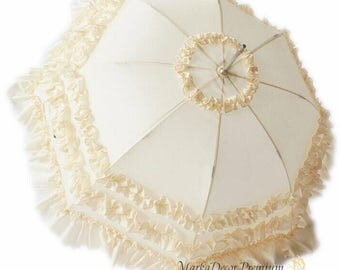 NEW 2017 Medium Wedding Parasol Bridal Umbrella with Multi Layers of Gorgeous Fabric 1pc