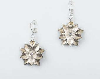 Leather Flower Earrings in Gold or Silver