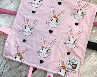 baby 'Rikiki' blanket, Alice the rabbit, pink rabbit, pink minky