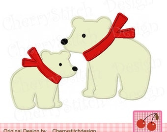 Two Polar bears, Mom and Baby,Big brother and Lil brother,Big sister and Lil sister, animals applique, Winter  applique -4x4 5x5 6x6 inch