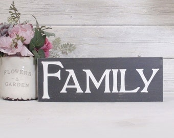 Family Block Sign- Hand Painted Wooden Block- Country Decor- Wooden Blocks- Quotes- Vintage Style- Distressed- Home Decor