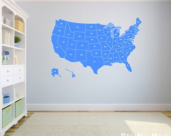 """United States Map Wall Decal US Map Vinyl Art Wall Decal 43""""x29"""""""