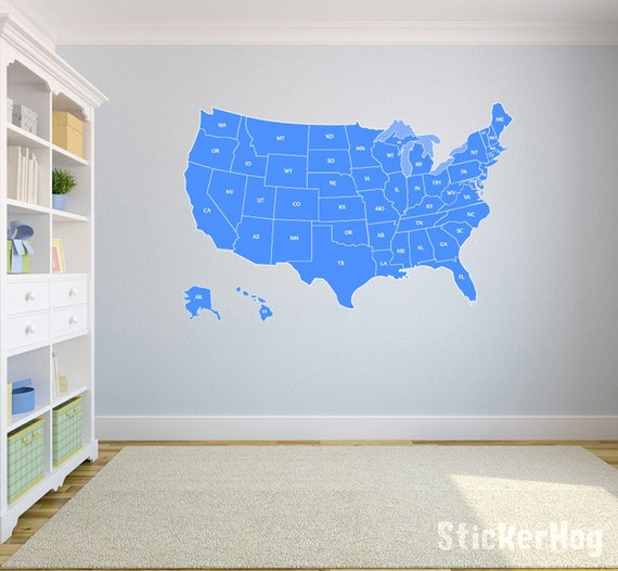 United States Map Wall Decal US Map Vinyl Art Wall Decal - Us map wall decal