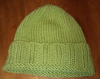 Green Hand-Knit Winter Hat