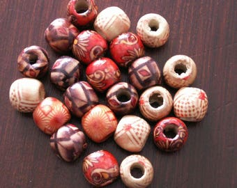 12 x 11 mm, different amounts of selectable style African wood beads