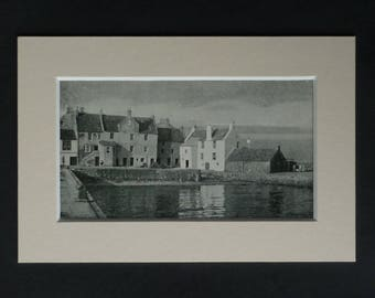 1930s Antique Pittenweem Print, Available Framed, Scotland Art, Scottish Gift, Old Fife Picture, British Port Photography, Quay Wall Art