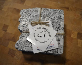 Old Man of the Mountain Shaped Granite Coasters - Set of 4