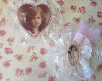 Set of Two Shabby Chic Embellishments, Vintage Girls/Ladies in Lacey Frames, Brooch and Hair Clip Decorations, Shabby Chic Decor