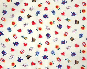 "Cone Mills White Canvas Fabric with Farm Symbols - 1 yard - 60"" wide"