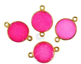 30% OFF Pink Color Druzy, Bezel Round Shape Connector, 12mm Round 24K Gold Plated, Double Bail 1pc. (Zcp-11156)