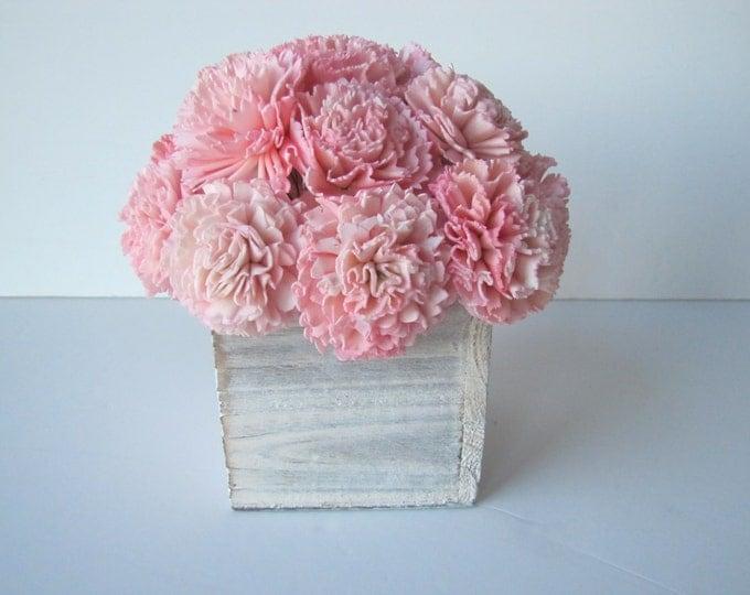 Pink Keepsake Arrangement -Sola Flower Arrangement - Pink Flower Centerpiece - Balsa Wood Arrangemet - Rustic Centerpiece - Modern Floral