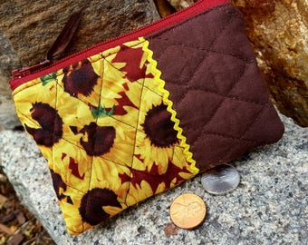 Sunflower Coin Purse,  Change Wallet, Quilted Coin Purse,
