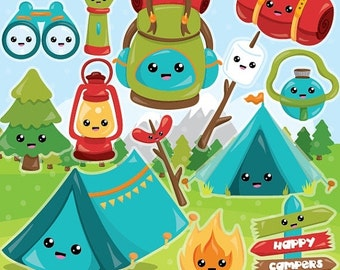 80% OFF SALE Camping clipart commercial use, Camping icons vector graphics, kawaii icons digital clip art, digital images  - CL989