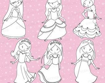 80% OFF SALE Princess stamps commercial use, vector graphics, digital clip art, digital images - DS457