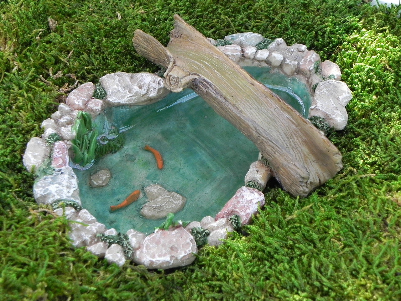 Fairy garden koi pond miniature with artificial water bridge for Artificial fish pond
