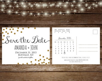 Gold Save The Date Postcard, New Year's Eve Wedding, Printable