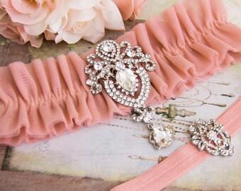 Dusty Pink Wedding Garter Set, Dusty Pink Bridal Garter Set, Tulle Garter, Tulle Wedding Garter, Dusty Pink Tulle Wedding Garter