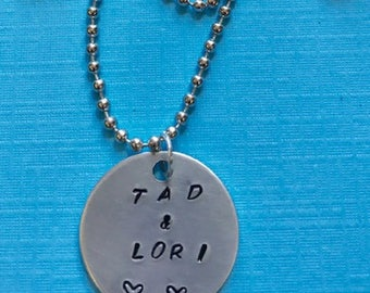 Gift Personalized Couples Hand Stamped Necklace