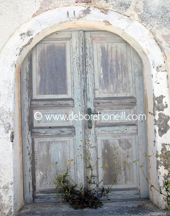 """Doors Photography - Photograph Santorini Greece Old Door Pastel Blue Ancient """"Santorini, Greece Arched Door #11"""""""