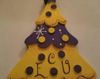 East Carolina University (ECU) Pirates Wooden Christmas Tree Ornament