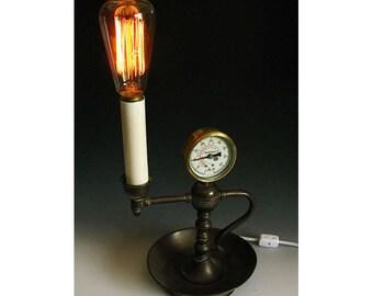 Steampunk Antique Victorian Style Lamp w/ Edison Bulb - Metal Art Light Pressure Guage Vintage Old Brass Estate