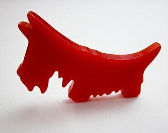 "Authentic Red Bakelite Scotty Dog Pin, 3"" Long Pin, Art Deco 1930s Brooch, Original Vintage Scottish Terrier, F.D.R. Pet Dog Pin, Fela, USA."