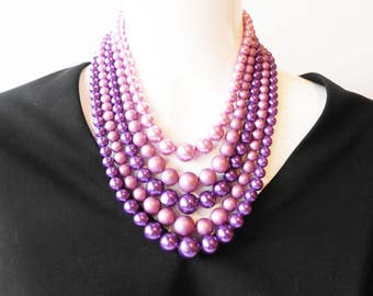 Purple Necklace, Purple Beads, Vintage Necklace, Costume Jewelry, 5 Strand, Bead Necklace, Glamorous Necklace, 1950's