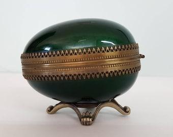 Evens Egg Table Lighter Enamel Emerald Green Brass Guilloche Hinged