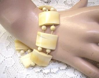 Summer Sale...Vintage Bone Bead Stretch Bracelet...Bone Bead Spacers...9 Bone Panels...Restring Project...Bone Bead Supplies...Bone Jewelry