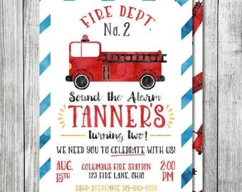 Firetruck Birthday Invitation - Sound the Alarm - 5x7 JPG (Front and Back Design)