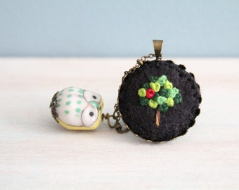 Embroidered Jewelry. Embroidered Necklace. Owl Necklace. Tree Necklace. Felt Pendant Necklace. Pendant Necklace. Cute Necklace. Black.