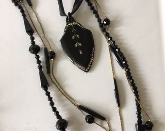 Victorian Mourning Necklace Trio/Whitby Jet Jewelry/Black Beaded Necklace/Mouring Jewelry