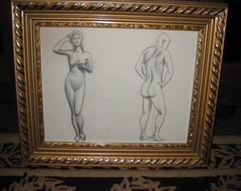 "MALE FEMALE NUDE Pencil Drawing From April 1964 In Ornate Goldtone Frame 15"" x 18"" Velvet Back On Frame"