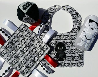 Star Wars Baby Gift Set: bib with Darth, stormtrooper stuffie, ball and taggie.